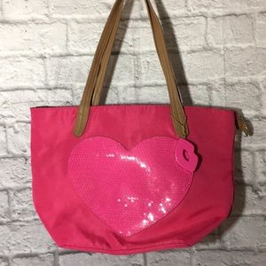 Luv Betsey Johnson Pink Sequins Heart Tote Bag